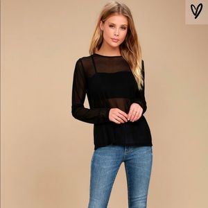 Lulu's LOVE LIGHT BLACK SHEER MESH LONG SLEEVE TOP
